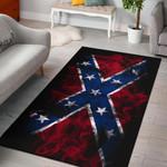 Flaming Rebel Confederate Flag 3D Print Design Area Rug Home Decor