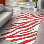 Red Zebra Pattern 3D Print Design Area Rug Home Decor