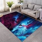 Where Light And Dark Meet Wolf 3D Grapic Design Area Rug Home Decor