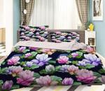 3D Colorful Flowers Black  Bedding Set Bedroom Decor