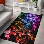 Rainbow Gradient Smokey 3D Print Design Area Rug Home Decor