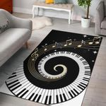 Piano Key Black And White 3D Grapic Design Area Rug Home Decor