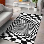 Tunnel Optical Illusion Checkered Flag Area Area Rug Home Decors Home Decor