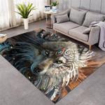 Wolf Warriorolf 3D Grapic Design Area Rug Home Decor