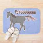 A Cute Black Horse Poto Purple Background 3D Printed Doormat For Home Decor