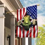 Cute Baby Turtle Hand Pulling American Flag Garden Flag House Flag