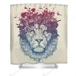 Floral Lion Design High Quality Bathroom Home Decor Shower Curtain Custom