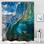 Sea Turtle Tropical Ocean Wave Scenic Shower Curtain Home Decor