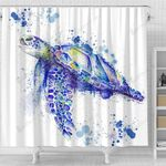 Sea Turtle Blue Watercolor Spatter Shower Curtain Home Decor