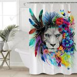 Native Colorful Lion Colorful Polyester Cloth 3D Printed Shower Curtain