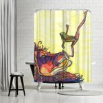 Lion And The Frog Custom Theme Colorful Polyester Cloth 3D Printed Shower Curtain