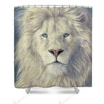 White Lion Supremacy Colorful Polyester Cloth 3D Printed Shower Curtain