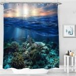 Sea Turtle Floating Up Over Coral Reef Ocean Underwater Shower Curtain Home Decor