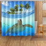 Sea Turtle Swimming Underwater Palm Tree Shower Curtain Home Decor
