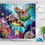 Hawksbill Sea Turtle Swiming Shower Curtain Home Decor