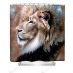 Stunning Lion Looking Colorful Polyester Cloth 3D Printed Shower Curtain