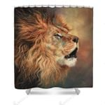 Lion Leader Roaring Colorful Polyester Cloth 3D Printed Shower Curtain