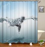 Sea Turtle Underwater Shower Curtain Home Decor