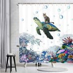 Funny Cat Sea Turtle Colorful Corals Shower Curtain Home Decor