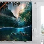 Tropical Paradise Coastal Palm Trees Sea Turtles Diving Underwater Shower Curtain Home Decor