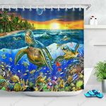 Sea Turtles Colorful Sea Bottom Ocean Lives Shower Curtain Home Decor