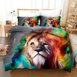 3D Art Water Painting Lion Pattern Bedding Set Double Full Queen Extra Large Pillowcase Quilt Cover