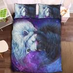 3D Moon Versus Sun Lion Pattern Bedding Set Double Full Queen Extra Large Pillowcase Quilt Cover