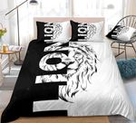 3D Black And White Theme Lion Portrait Pattern Bedding Set Double Full Queen Extra Large Pillowcase Quilt Cover