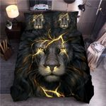 3D Mighty Black Lion Portrait Pattern Bedding Set Double Full Queen Extra Large Pillowcase Quilt Cover