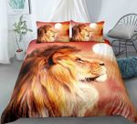 3D Lion And The Sun Set Pattern Bedding Set Double Full Queen Extra Large Pillowcase Quilt Cover