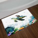 Funny Cat Sea Turtle Colorful Corals Doormat Bath Mat Decoration