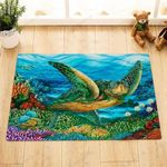 Watercolor Sea Turtle Fishes Colorful Corals Doormat Bath Mat Decoration