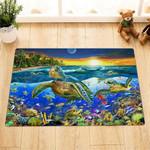 Sea Turtles Colorful Sea Bottom Ocean Lives Doormat Home Decor
