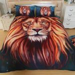 3D Lion Star Portrait Watercolor Painting Printed Bedding Set Bedroom Decor