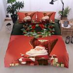 Christmas Cute Santa Printed Bedding Set Bedroom Decor