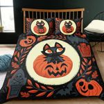 Halloween Pumpkin Smile And Cat Cartoon Printed Bedding Set Bedroom Decor