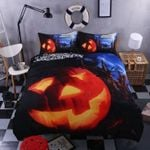 Halloween Pumpkin Light Printed Bedding Set Bedroom Decor