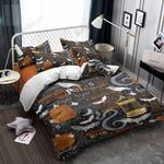 Halloween Bat Snake Raven Pattern Bedding Set Bedroom Decor
