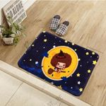 Cute Witch Girl On Starry Halloween Night Doormat Living Room Home Decor