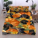Dachshund Halloween Pumskin Harvest Printed Bedding Set Bedroom Decor