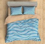 Blue Waves Printed Bedding Set Bedroom Decor