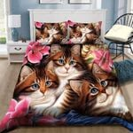Three Cute Kitty Printed Bedding Set Bedroom Decor