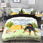 Camping Rottweiler Printed Bedding Set Bedroom Decor