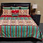 Laredo Turquoise Pattern Printed Bedding Set Bedroom Decor