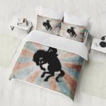 Black Horse And Cowboy Printed Bedding Set Bedroom Decor