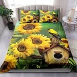 Goldfinch And Sunflowers Printed Bedding Set Bedroom Decor