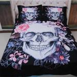 Smiley Skull Flower Printed Bedding Set Bedroom Decor
