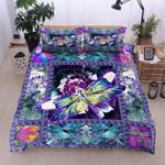 Dragonfly Flower Printed Bedding Set Bedroom Decor