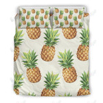White Pineapple Pattern Printed Bedding Set Bedroom Decor