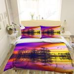 Purple Sunset Printed Bedding Set Bedroom Decor